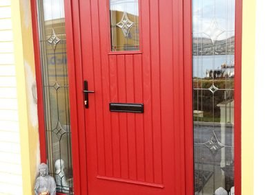 Red TG Glazed Composite Door with Decorative Glass